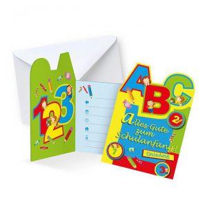 """Einladungskarten """"Erster Schultag"""" mit Umschlag 6er Pack"""
