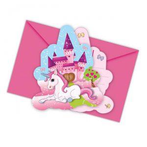 """Einladungskarten """"Rosarotes Einhornleben"""" mit Umschlag 6er Pack"""