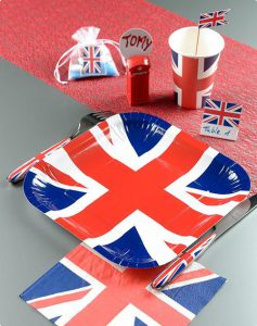 "Eckige Pappteller ""Union Jack"" 10er Pack"