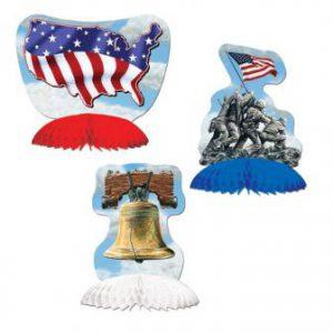 """Tischdeko """"Unabhängigkeit der USA"""" 3-tlg."""