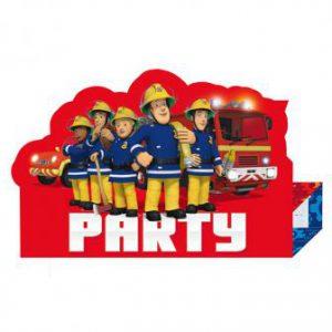 """Einladungskarten """"Mutiger Feuerwehrmann Sam"""" mit Umschlag 8er Pack"""