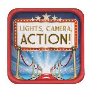 """Viereckige Pappteller """"Hollywood Lights"""" 8er Pack"""