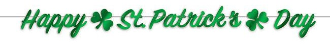 """Glänzende Buchstaben-Girlande """"Happy St. Patrick's Day"""" 3,66 m"""