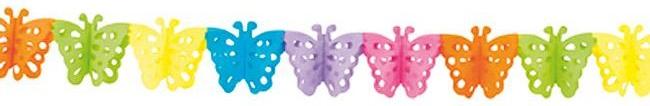 "Papier-Girlande ""Farbenfrohe Schmetterlinge"" 4 m"