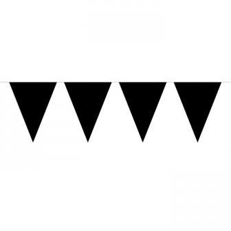 Einfarbige Wimpel-Girlande 10 m-schwarz