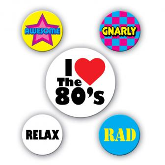 80`s Party Buttons 5er Pack