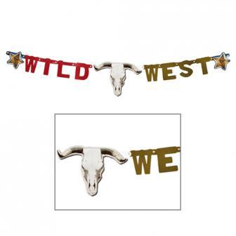 """Buchstaben-Girlande """"Wild West"""" mit Büffel-Schädel 120 cm"""