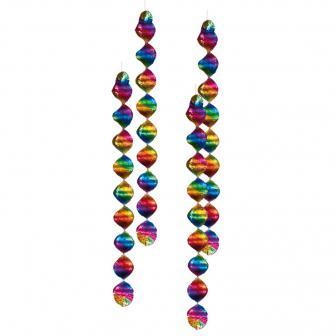 Bunte Spiral-Deckenhänger Rainbow 60 cm 4er Pack