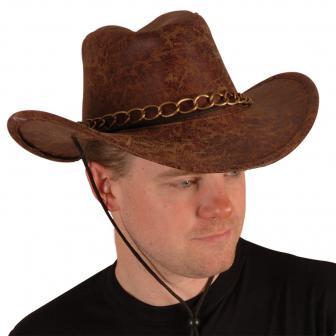 Cowboyhut Buffalo Bill braun Lederoptik