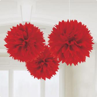 "Deckenhänger ""Einfarbige Blüte aus Papier"" 3er Pack-rot"