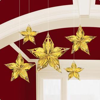 """Deckenhänger """"Goldene Sterne"""" 5-tlg."""