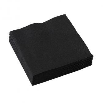 Einfarbige kleine Servietten 20er Pack-schwarz