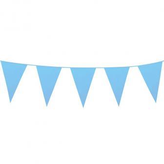 Einfarbige mini Wimpel-Girlande 3 m-hellblau