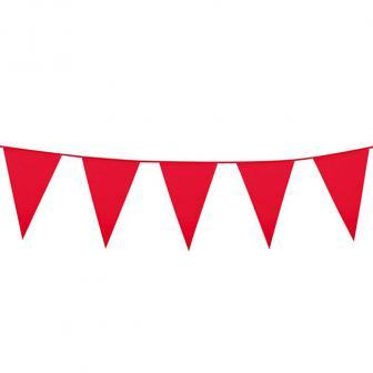 Einfarbige mini Wimpel-Girlande 3 m-rot