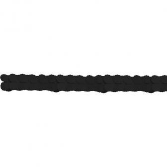 Einfarbige Wabenpapier-Girlande 360 cm-schwarz
