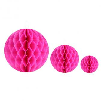 Einfarbiger Wabenpapier-Ball 2er Pack-pink-10 cm