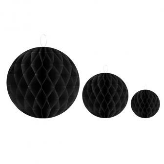 Einfarbiger Wabenpapier-Ball 2er Pack-schwarz-10 cm