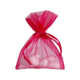 Einfarbiges Organza-Säckchen 10er Pack-pink