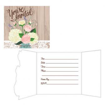 """Einladungskarten """"Hochzeit im Landhaus"""" mit Umschlag 8er Pack"""