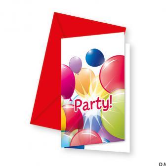 """Einladungskarten """"Luftballon Paradies"""" mit Umschlag 6er Pack"""