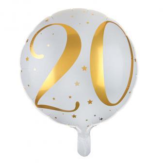 "Folien-Ballon 20. Geburtstag ""Golden Times"" 45 cm"