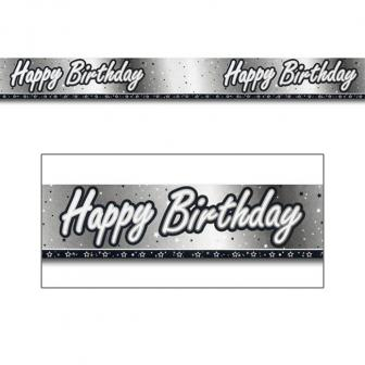 "Folien-Banner ""Black & White"" Happy Birthday! 274 cm"
