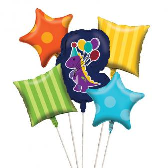 """Folienballon-Set """"Kleiner Dino"""" 5-tlg."""