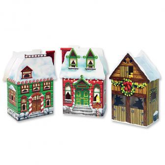 """Geschenk-Boxen """"Weihnachtshäuser"""" 3er Pack"""