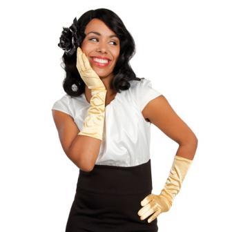 Glänzende Handschuhe 40 cm-gold