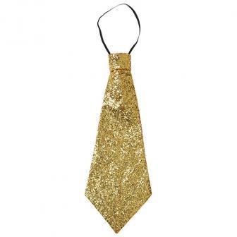 Glitzer-Krawatte 40 cm-gold