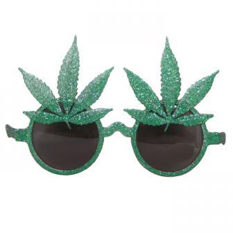 Grüne Glitzer-Partybrille Cannabis-Blätter
