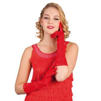 """Lange Handschuhe """"Glamour-Girl"""" 40 cm-rot"""