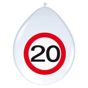 Luftballons Verkehrsschild 20. Geburtstag 8er Pack