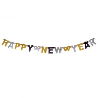 "Metallic-Girlande ""Happy New Year"" 1,5 m"