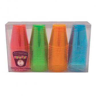 Mini Schnapsgläser aus Kunststoff Neonfarben 60er Pack