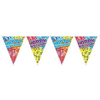"""Mini Wimpel-Girlande """"Happy Crazy Birthday"""" 3 m"""