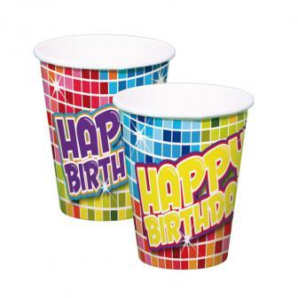 """Pappbecher """"Happy Crazy Birthday"""" 6er Pack"""