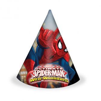 """Party-Hütchen """"Spiderman - Web Warriors"""" 6er Pack"""
