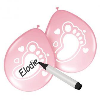 """Personalisierbare Luftballons """"Niedliche Füße"""" 6er Pack-rosa"""