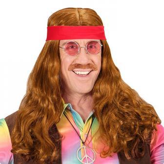 """Perücke """"60er"""" mit Stirnband und Bart 3-tlg."""