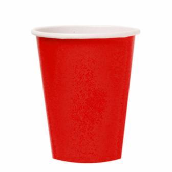 Einfarbige Pappbecher 266 ml 8er Pack-rot