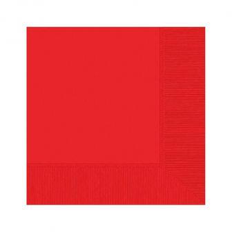 Einfarbige Servietten 20er Pack-rot