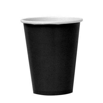 Einfarbige Pappbecher 266 ml 8er Pack-schwarz