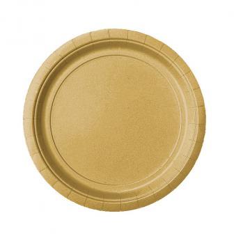 Einfarbige Pappteller 23 cm 8er Pack-gold