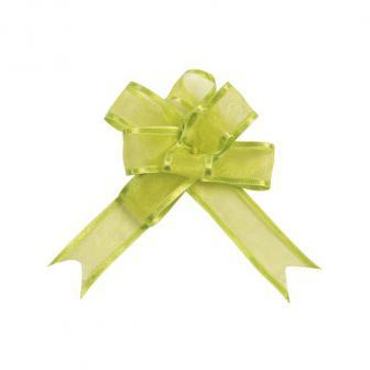 Selbstraffende einfarbige Organza-Schleifen 5er Pack-grün