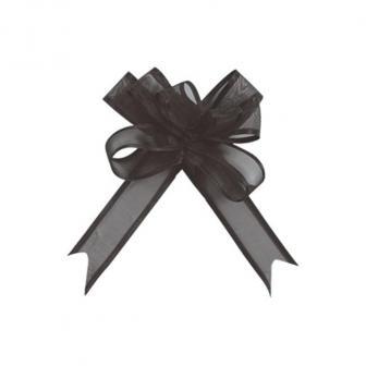 Selbstraffende einfarbige Organza-Schleifen 5er Pack-schwarz