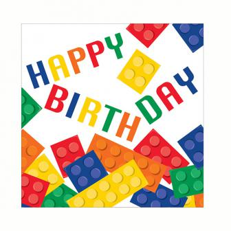 "Servietten ""Bunte Bausteine"" - Happy Birthday 16er Pack"