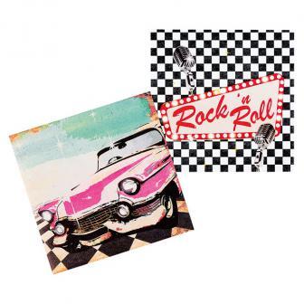 """Servietten """"Rock 'n' Roll Party"""" 12er Pack"""