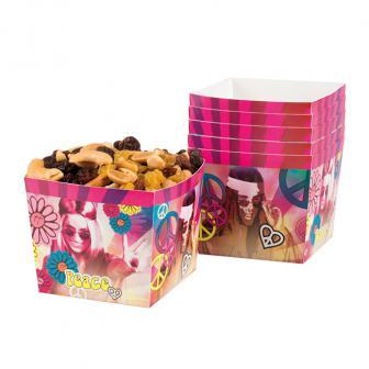 """Snack-Boxen """"Bunte Hippie-Power"""" 6er Pack"""