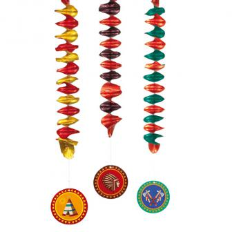 """Spiral-Deckenhänger """"Indianerleben"""" 3er Pack"""